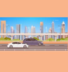 Cars driving city street panorama urban road vector