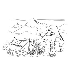 Cartoon drawing of yeti who is eating vector