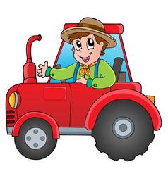 Cartoon farmer on tractor vector