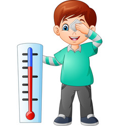 Cartoon little boy with a thermometer vector