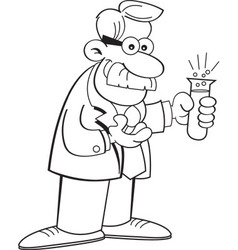 Cartoon scientist holding a test tube vector image