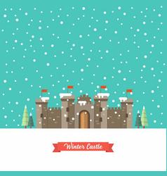 castle in winter season vector image
