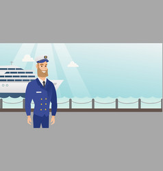 caucasian ship captain in uniform at the port vector image