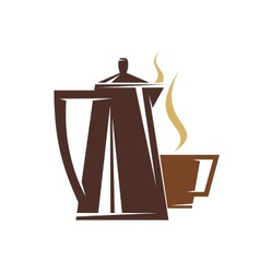 Coffee pot and steaming cup of coffee vector