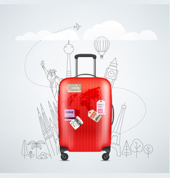 Color red plastic travel bag with different vector