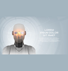 Cybernetic robot concept web banner vector