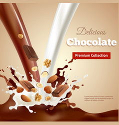 Delicious chocolate realistic vector