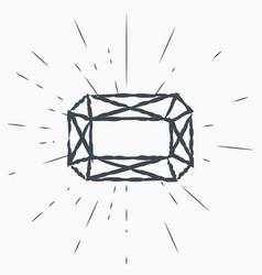Diamond vintage label hand drawn sketch grunge vector