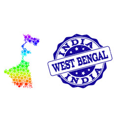 Dot rainbow map of west bengal state and grunge vector