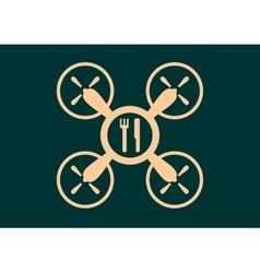 Drone quadrocopter icon Fork and knife symbols vector