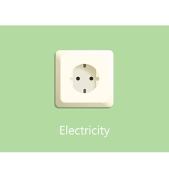 electricity socket plug on green background with vector image