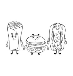 fast food cartoon coloring book vector image