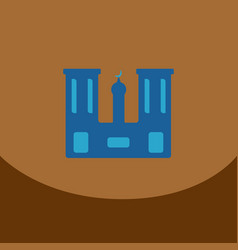 Flat icon on brown square arabic mosque with the vector