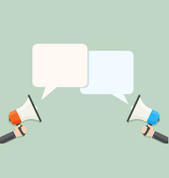 flat style loudspeakers with speech bubbles vector image