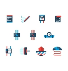 Floor heating technology flat icons set vector image