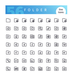 Folder line icons set vector