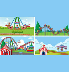 four scenes with many rides in fun fair vector image