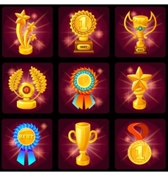 Game screen trophies icon set vector