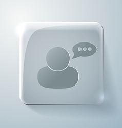 Glass square icon character avatar dialogue vector
