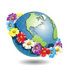 Globe in wreath of flowers vector