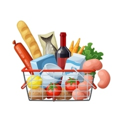 Grocery basket full of food isolated on white vector image