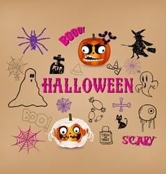 halloween hand drawn elements vector image