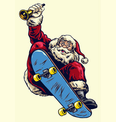 hand drawing santa claus riding skateboard and vector image