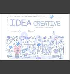 hand drawn icons related to creative idea vector image