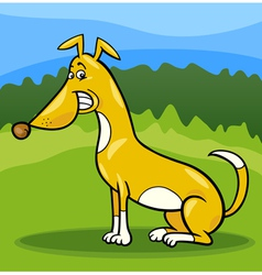 Happy sitting dog cartoon vector