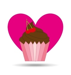 Heart pink cartoon cupcake chocolate sweet icon vector