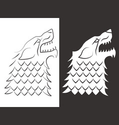 Heraldic style wolf head design line and vector