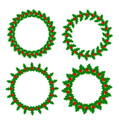 holly leaves berries wreaths frames set vector image
