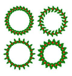 holly leaves berries wreaths frames set vector image