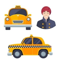 Indian hindu taxi car driver icon set vector