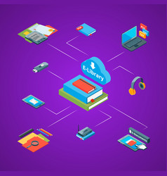 isometric online education icons vector image