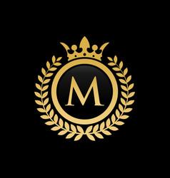 Letter m royal crown logo vector