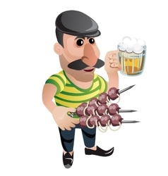 Man waiter in cap with kebab and beer Character vector