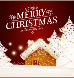 Merry christmas cute background with gingerbread vector