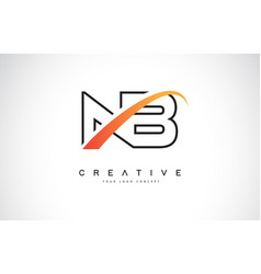 Nb n b swoosh letter logo design with modern vector