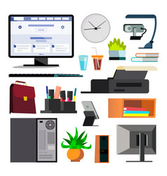 office equipment set keyboard electronics vector image