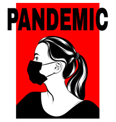 Pandemic hand drawn girl in face vector