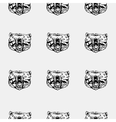 Pattern bear head icon Repeated seamless hand vector