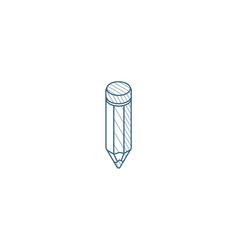 pencil isometric icon 3d line art technical vector image