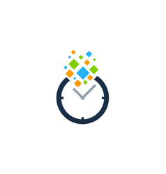 pixel time logo icon design vector image