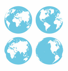planet earth icon set earth globe isolated on vector image