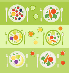 Plates with fruits and vegetables lunch time vector