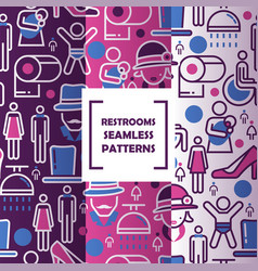 public restroom icons in seamless pattern vector image