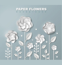 Realistic paper flowers background vector