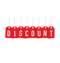 Red discount tag vector