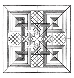Renaissance square panel is a dark line pattern vector
